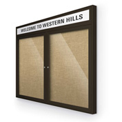 "Balt® Outdoor Headline Bulletin Board Cabinet,2-Door 60""W x 36""H, Coffee Trim, Natural"