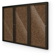 "BaltĒ Enclosed Bulletin Board - 3 Door - Black Rubber - Coffee Aluminum Frame - 72""W x 48""H"