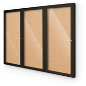 "Balt® Indoor Enclosed Bulletin Board - 3 Door - Cork - Coffee Aluminum Frame - 96""W x 48""H"