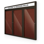 "Balt® Outdoor Headline Bulletin Board Cabinet,3-Door 96""W x 48""H, Coffee Trim, Burgundy"