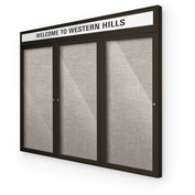 "Balt® Outdoor Headline Bulletin Board Cabinet,3-Door 96""W x 48""H, Coffee Trim, Gray"