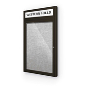 "Balt® Outdoor Headline Bulletin Board Cabinet,1-Door 30""W x 42""H, Coffee Trim, Platinum"
