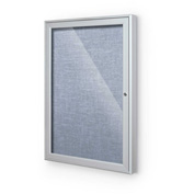 "Balt® Indoor Enclosed Bulletin Board Cabinet,1-Door 18""W x 24""H, Silver Trim, Pacific Blue"