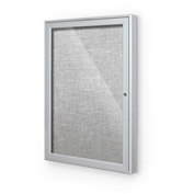"Balt® Indoor Enclosed Bulletin Board Cabinet,1-Door 18""W x 24""H, Silver Trim, Platinum"