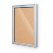 "Balt® Outdoor Enclosed Bulletin Board Cabinet,1-Door 18""W x 24""H, Silver Trim, Nat. Cork"