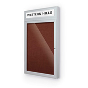 "Balt® Outdoor Headline Bulletin Board Cabinet,1-Door 18""W x 30""H, Silver Trim, Burgundy"