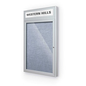 "Balt® Outdoor Headline Bulletin Board Cabinet,1-Door 18""W x 30""H, Silver Trim, Pac. Blue"