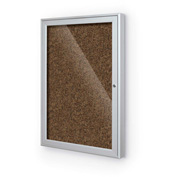 "Balt® Enclosed Bulletin Board - 1 Door - Tan Rubber - Silver Aluminum Frame - 24""W x 36""H"