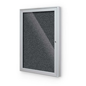 "Balt® Enclosed Bulletin Board - 1 Door - Black Rubber - Silver Aluminum Frame - 24""W x 36""H"