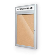 "Balt® Outdoor Headline Bulletin Board Cabinet,1-Door 24""W x 42""H, Silver Trim, Nat. Cork"