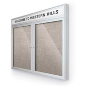 "Balt® Outdoor Headline Bulletin Board Cabinet,2-Door 48""W x 36""H, Silver Trim, Gray"