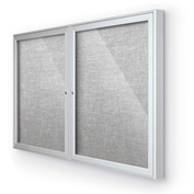 "Balt® Outdoor Enclosed Bulletin Board Cabinet,2-Door 60""W x 36""H, Silver Trim, Platinum"