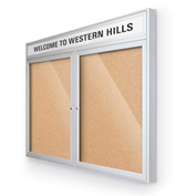 "Balt® Outdoor Headline Bulletin Board Cabinet,2-Door 60""W x 36""H, Silver Trim, Nat. Cork"