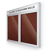 "Balt® Outdoor Headline Bulletin Board Cabinet,2-Door 60""W x 36""H, Silver Trim, Burgundy"