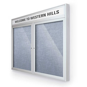 "Balt® Outdoor Headline Bulletin Board Cabinet,2-Door 60""W x 36""H, Silver Trim, Pac. Blue"