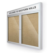 "Balt® Outdoor Headline Bulletin Board Cabinet,2-Door 60""W x 36""H, Silver Trim, Natural"