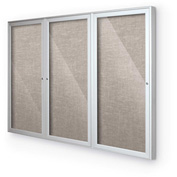 "Balt® Outdoor Enclosed Bulletin Board Cabinet,3-Door 72""W x 48""H, Silver Trim, Gray"