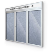 "Balt® Outdoor Headline Bulletin Board Cabinet,3-Door 72""W x 48""H, Silver Trim, Pac. Blue"