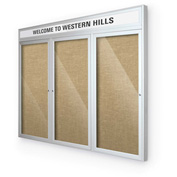 "Balt® Outdoor Headline Bulletin Board Cabinet,3-Door 72""W x 48""H, Silver Trim, Natural"