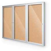 "Balt® Indoor Enclosed Bulletin Board - 3 Door - Cork - Silver Aluminum Frame - 96""W x 48""H"