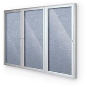 "Balt® Outdoor Enclosed Bulletin Board Cabinet,3-Door 96""W x 48""H, Silver Trim, Pacific Blue"