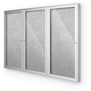 "Balt® Outdoor Enclosed Bulletin Board Cabinet,3-Door 96""W x 48""H, Silver Trim, Platinum"