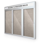 "Balt® Outdoor Headline Bulletin Board Cabinet,3-Door 96""W x 48""H, Silver Trim, Gray"