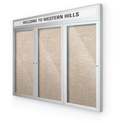 "Balt® Outdoor Headline Bulletin Board Cabinet,3-Door 96""W x 48""H, Silver Trim, Cotton"