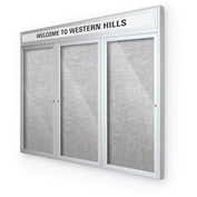 "Balt® Outdoor Headline Bulletin Board Cabinet,3-Door 96""W x 48""H, Silver Trim, Platinum"