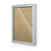 "Balt® Outdoor Enclosed Bulletin Board Cabinet,1-Door 30""W x 36""H, Silver Trim, Nat. Cork"