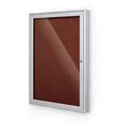 "Balt® Outdoor Enclosed Bulletin Board Cabinet,1-Door 30""W x 36""H, Silver Trim, Burgundy"