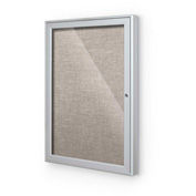 "Balt® Outdoor Enclosed Bulletin Board Cabinet,1-Door 30""W x 36""H, Silver Trim, Gray"