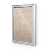 "Balt® Outdoor Enclosed Bulletin Board Cabinet,1-Door 30""W x 36""H, Silver Trim, Cotton"