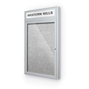 "Balt® Outdoor Headline Bulletin Board Cabinet,1-Door 30""W x 42""H, Silver Trim, Platinum"