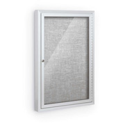 "Balt® Deluxe Bulletin Board Cabinet,with 1 Hinged Door 24""W x 36""H, Platinum"