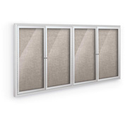 """Balt® Deluxe Bulletin Board Cabinet,with 4 Hinged Doors 96""""W x 48""""H, Gray"""