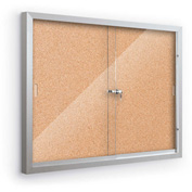 "Balt® Deluxe Enclosed Bulletin - 2 Sliding Doors - Cork - Silver Aluminum Frame - 46""W x 34""H"