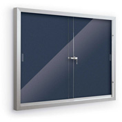 "Balt® Deluxe Bulletin Board Cabinet with 2 Sliding Doors 46""W x 34""H, Indigo"