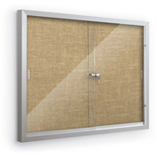 """Balt® Deluxe Bulletin Board Cabinet,with 2 Sliding Doors 72""""W x 48""""H, Natural"""