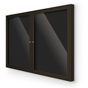 "Balt® Indoor Enclosed Letter Board Board Cabinet with 2 Hinged Doors 60""W x 36""H Coffee"