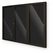 "Balt® Indoor Enclosed Letter Board Board Cabinet with 3 Hinged Doors 96""W x 48""H Coffee"