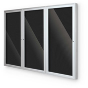 "Balt® Indoor Enclosed Letter Board Board Cabinet with 3 Hinged Doors 72""W x 36""H Silver"