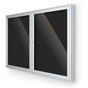 "Balt® Indoor Enclosed Letter Board Board Cabinet with 2 Hinged Doors 48""W x 36""H Silver"