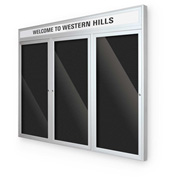 """Balt® Outdoor Headline Directory Board Cabinet with 3 Hinged Doors 96""""W x 54""""H Silver"""
