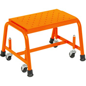 "Grip 16""W 1 Step Steel Rolling Ladder 10""D Top Step - Orange - 118G-O"