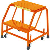 "Perforated 16""W 2 Step Steel Rolling Ladder 10""D Top Step - Orange - 218P-O"