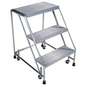 "Ribbed 3 Step 18""W Aluminum Rolling Ladder 10""D Top Step, Spring Loaded - A3S"