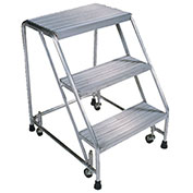 "Ribbed 3 Step 24""W Aluminum Rolling Ladder 10""D Top Step, Spring Loaded - A3S30"
