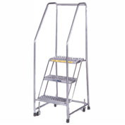 "Ribbed 3 Step 24""W Aluminum Rolling Ladder 10""D Top Step, Spring Loaded - A3SH30"