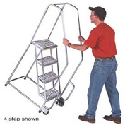 "3 Step 24""W Aluminum Tilt and Roll Ladder - Heavy Duty Serrated Grating"